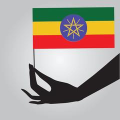 Hand with flag Ethiopia