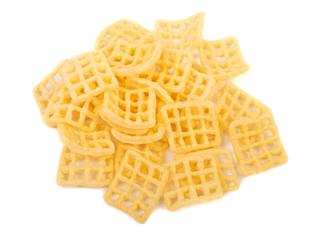 Corn, potato chips isolated on white background
