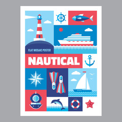Nautical poster in flat style. Set of vector icons marine.