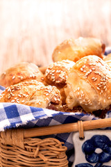 rolls with sesame in basket