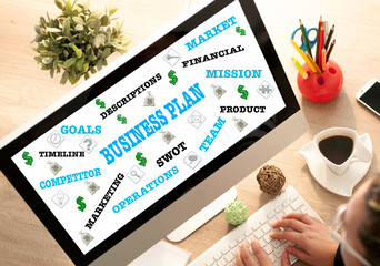 Businesswoman in office planning strategy, business concept
