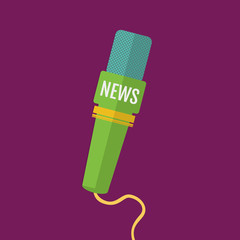 flat a microphone icon journalist news channel