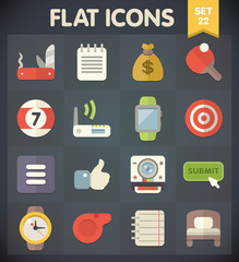 Universal Flat Icons for Web and Mobile Applications Set 22