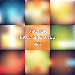 Abstract holiday colorfull blurred vector backgrounds set