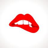 Vector Woman Biting Lips Popart Illustration poster