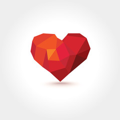 Vector Polygons Geometric Mosaic Heart with Shadow