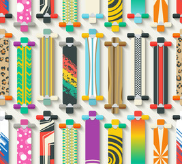 Various Longboards Seamless Pattern