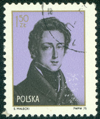 Stamp printed by Poland shows Frederic Chopin