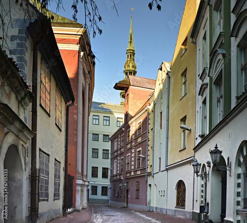 Medieval street in old Riga city, Latvia, Europe - 76705333