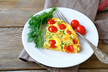 Frittata piece on white plate