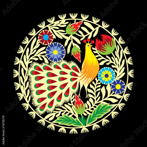 wzór ludowy z kwiatami i pawiem, łowicki - 76705741
