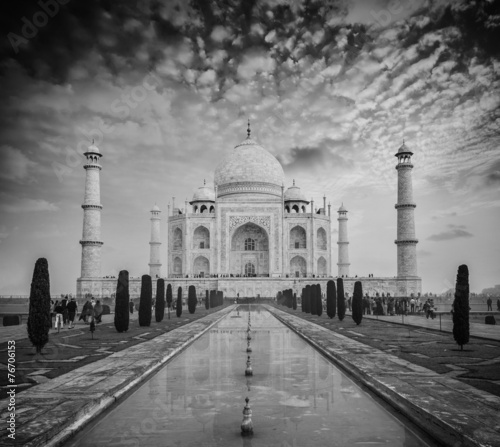 Fotobehang Historisch mon. Taj Mahal on sunrise sunset, Agra, India
