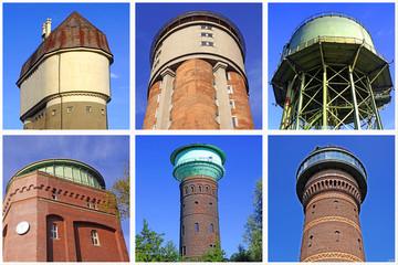 6 Wassertürme in DUISBURG  + ESSEN + OBERHAUSEN + MÜLHEIM