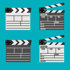 Cinema clapperboard vector icons