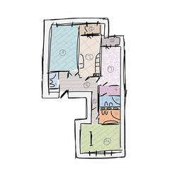Apartment plan without furniture, sketch for your design