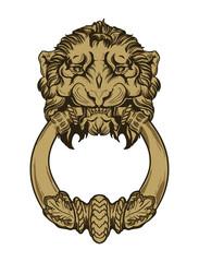 Gold lion head door knocker. Hand drawn vector illustration