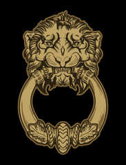 Gold lion head door knocker on black background. Vector