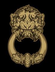 Gold lion head door knocker on black background. Vector