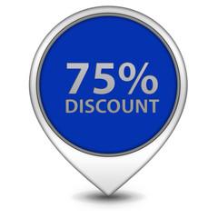 Discount 75 pointer icon on white background