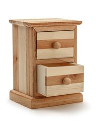 Wooden chest drawer on white background