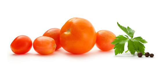 Ripe red tomatoes on white