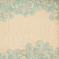 Old paper background with doodl waves