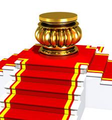 Award is on red carpet on white.