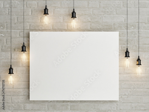 Mock up poster with ceiling lamps, 3d illustraton - 76710738