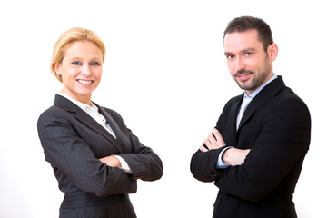 Businessman and business woman on a white background