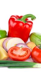 Vegetables on white