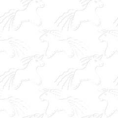 white pattern with unicorns