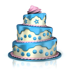 Three floor cake 3D rendering isolated on white background