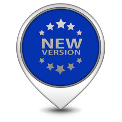 New version pointer icon on white background