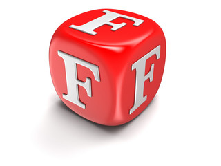 Dice with letter F (clipping path included)