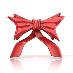 Red ribbon bow with tails, 3D render isolated on white