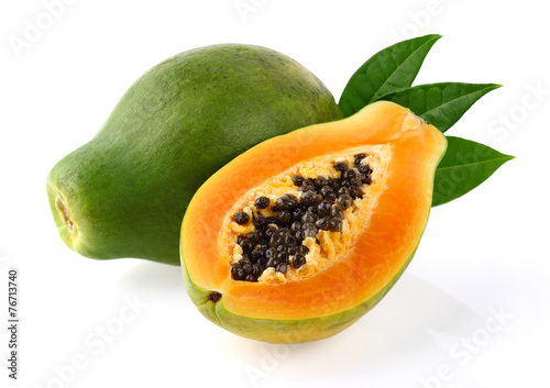 Deurstickers Vruchten Papaya with leaves