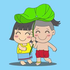little Thai boy and girl under lotus leaf