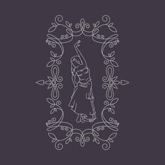 Vector Antique monochrome design.Line art logo template.