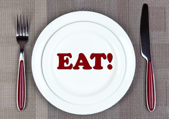 Plate with word EAT