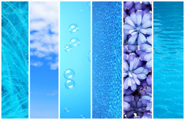 Blue color samples collage