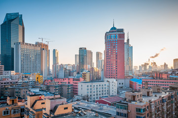Downtown of the Dalian, China.