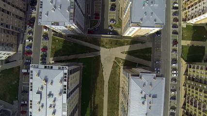 Aerial flight over buildings