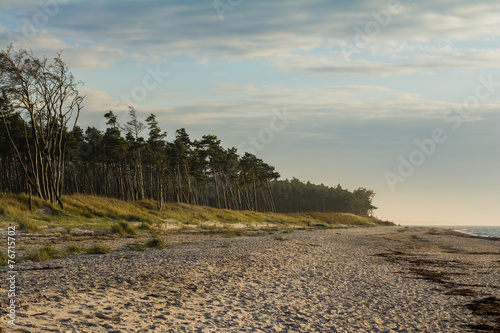 canvas print picture Sonnenuntergang am Weststrand auf Darss