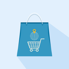 Flat icon shopping bag on a light background
