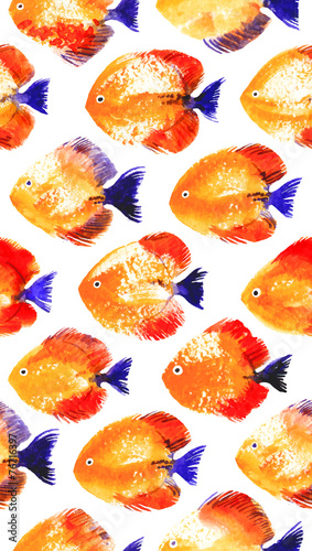 Obraz na Szkle Vector seamless pattern with watercolor discus fish