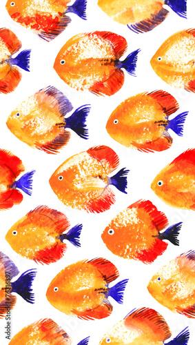 Fototapeta Vector seamless pattern with watercolor discus fish