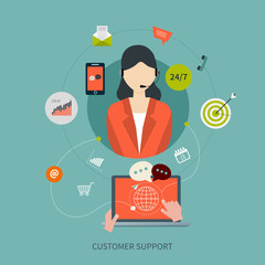 Business customer care service concept flat icons