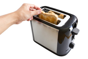 Hand pick bread from toaster