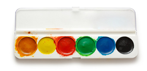 Box with water colour paints