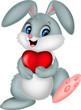 Cartoon rabbit holding red heart
